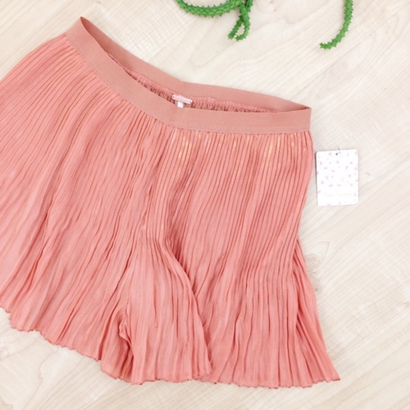 Free People Pants - Free People Pink/Gold Flared Accordion Shorts, NWT
